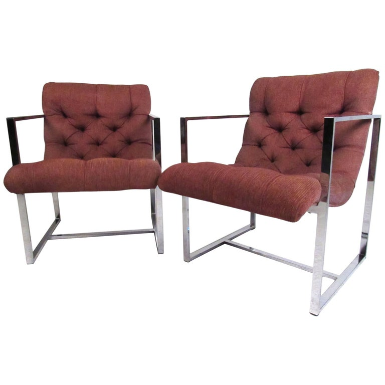 Pair of Mid-Century Milo Baughman Style Lounge Chairs For Sale