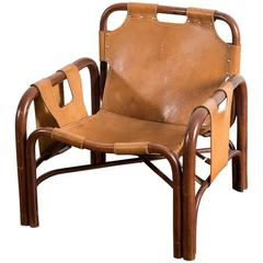 Bamboo and Patinated Cognac Leather Armchair by Bonacina, 1960s