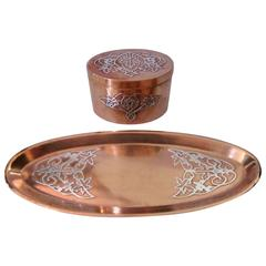 Early 20th Century Arts and Crafts Sterling over Copper Inkwell and Tray