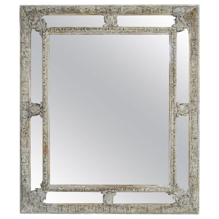 19th Century French Carved Painted Mirror