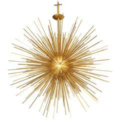 Monumental Brass Sputnik Pendant Light Chandelier