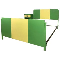 Norman Bel Geddes Two Tone Art Deco Twin Bed with Nightstand