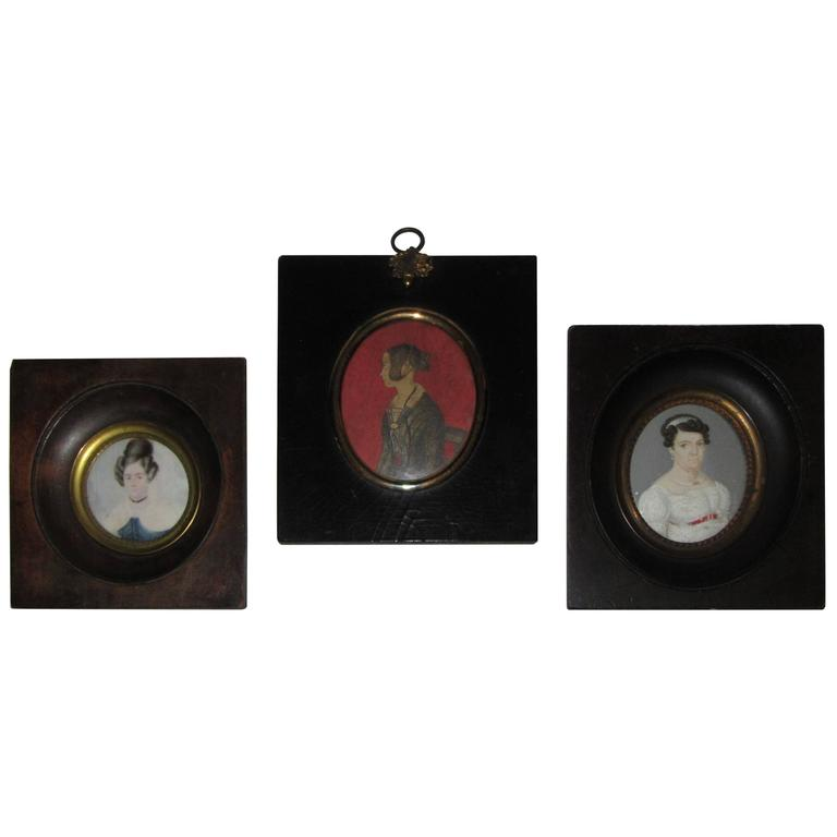 Group of Three Regency Period Miniature Portraits of Ladies For Sale