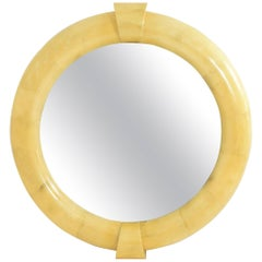 Monumental Karl Springer Inspired Goatskin Mirror