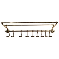 French Solid Brass Coat Rack and Wall Shelf, 19th Century