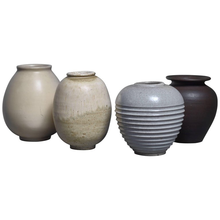 Set Of Four Jan Bontjes Van Beek Earthenware Vases Germany 1950s