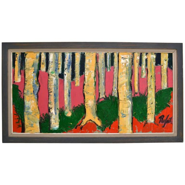 Expressionist Colorful Birch Tree Landscape Oil Painting by Rafael