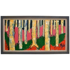 Large Expressionist Colorful Birch Tree Landscape Painting by Rafael