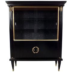1950s French Empire-Style Ebonized Vitrine