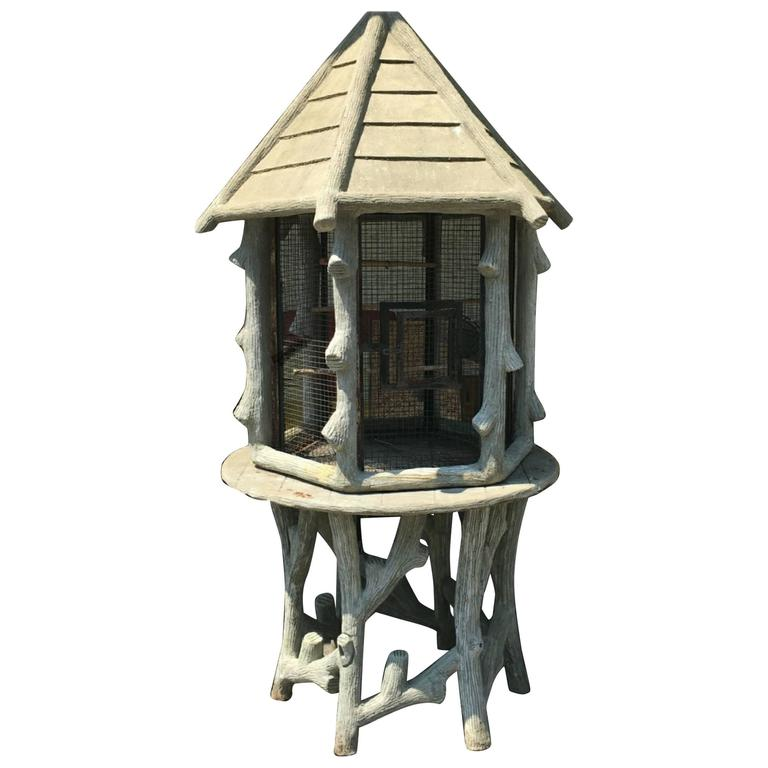Exceptional Faux Bois Birdcage with Slatted Roof on Faux Bois Table For Sale