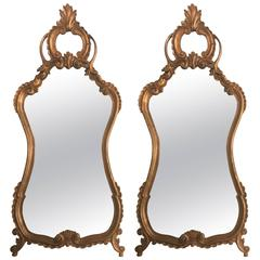 Pair of Italian Rococo Style Wall or Console Mirrors