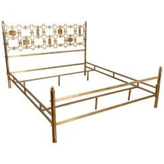 Osvaldo Borsani and Arnaldo Pomodoro Brass Enameled Italian Bed, 1960s