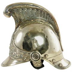 Late 19th Century French Crested Brass Fireman's Helmet