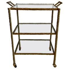 Brutalist Hammered Wrought Iron in Faux Bronze Finish Bar Cart
