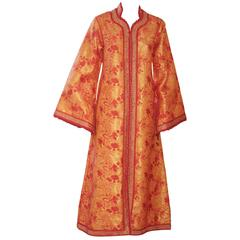 Moroccan Brocade Caftan Maxi Dress 1970 Kaftan Size S to M