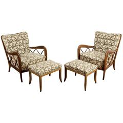 Paolo Buffa 1940s Set of Two Armchairs