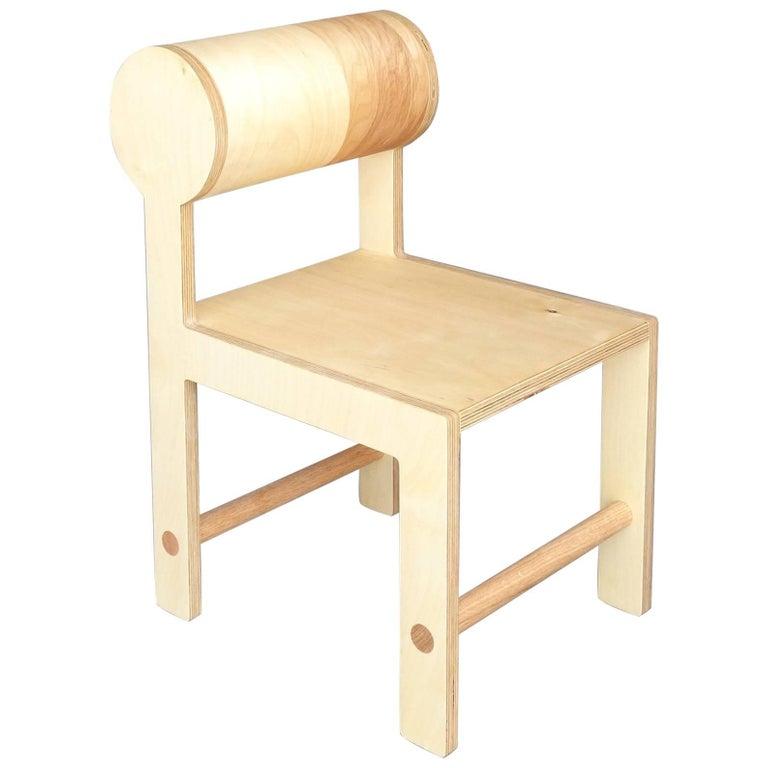 Waka zeitgenössischer Zylinder wieder Holz Mini Akzent Stuhl 1