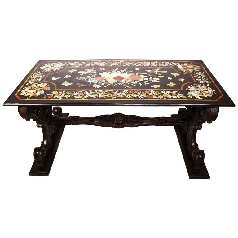"""Large Italian Baroque Carved Walnut Pedestal Table Base with a """"Pietra Dura"""" Top"""