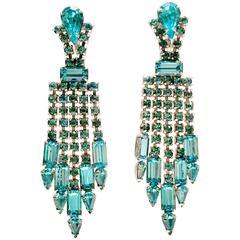 Pair of Vintage Blue Sapphire Crystal Rhinestone Chandelier Earrings