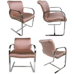 Mid-Century Modern Stainless Steel Dining Chairs by Brueton, Set of Four
