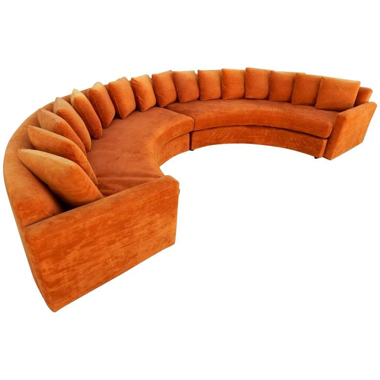 Mid-Century Modern Orange Velvet Semi Circle Sofa 1