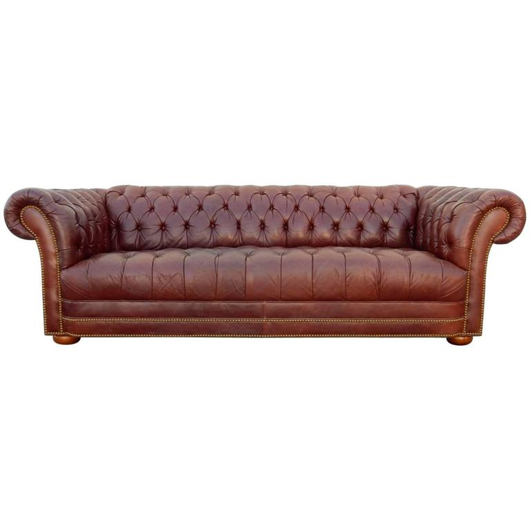 Exceptional Chesterfield Oxblood Sofa #1 - Vintage Distressed Oxblood Leather Chesterfield Sofa For Sale