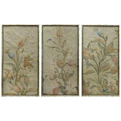 18th century floral aubusson panels set of three