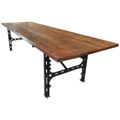 Singer Cast Iron and Beechwood Industrial Dining Table