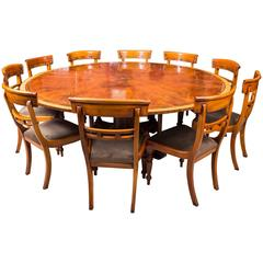 Theodore Alexander Flame Mahogany Jupe Dining Table and Ten Chairs