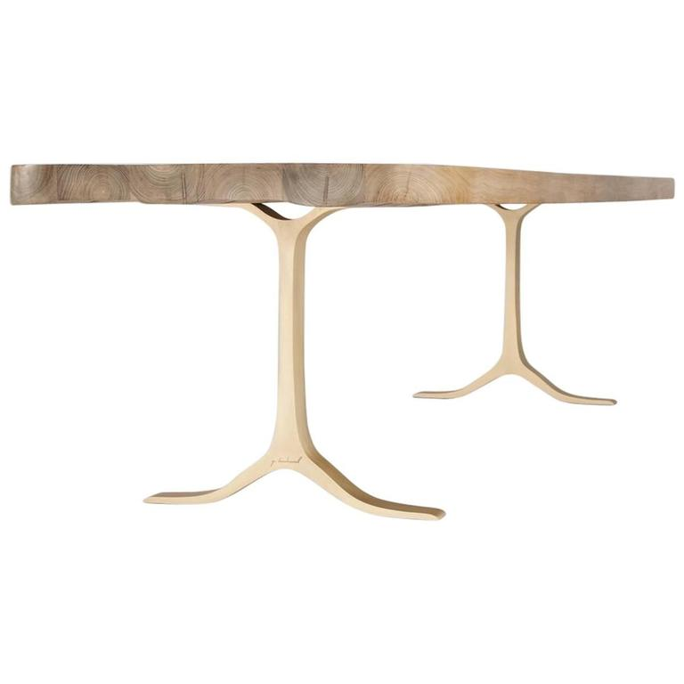Bespoke Bleached Reclaimed Hardwood Dining - Desk on Brass Base, by P.Tendercool