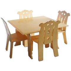 """Robert Venturi """"Cabriole Leg"""" Table and Four """"Chippendale"""" Chairs Set"""