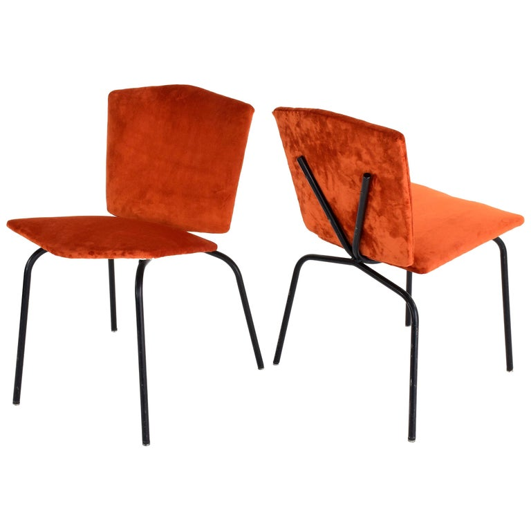 20th Century French Steel Velvet Chairs, 1970s For Sale