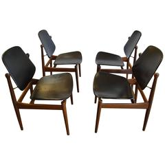 Four Arne Vodder Teak Dining Chairs for France & Dar