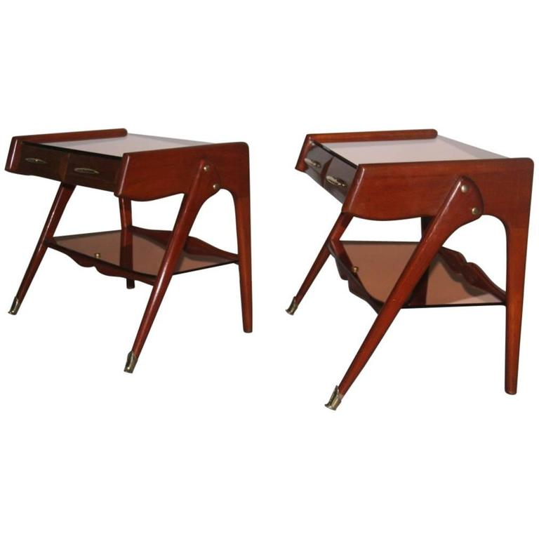 Italian Nightstands Geometric Design 1950 Elegant and Refined Shapes Cavatorta