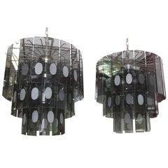 Pair of Gray Glass Chandeliers, 1970 Italian Design