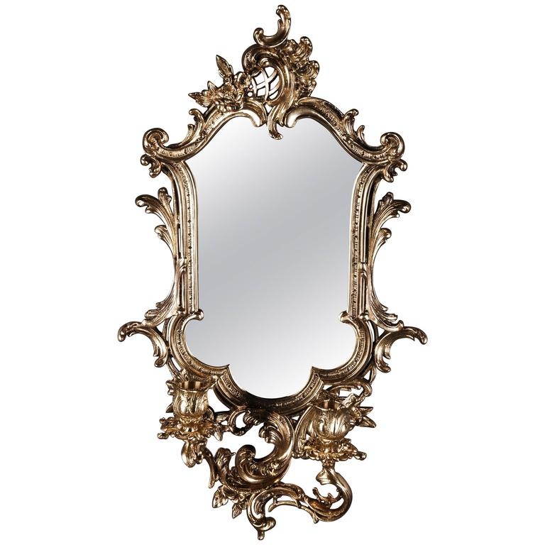 Bronze wall mirror with candlestick in baroque style for for Baroque style wall mirror