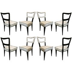 Eight Osvaldo Borsani Attributed 1940 Black and White Italian Art Deco Chairs