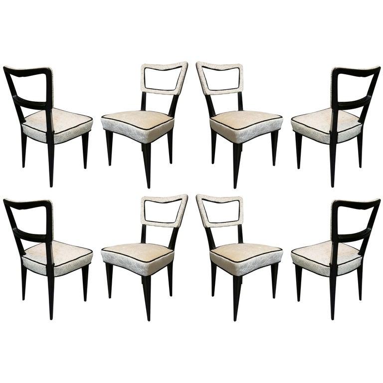 Eight Osvaldo Borsani Attributed 1940 Black and White Italian Art Deco Chairs For Sale