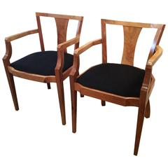 Art Deco Original Pair of Carver Armchairs