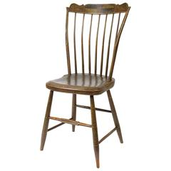 Polychrome-Decorated Shaped Tablet-Top Windsor Side Chair