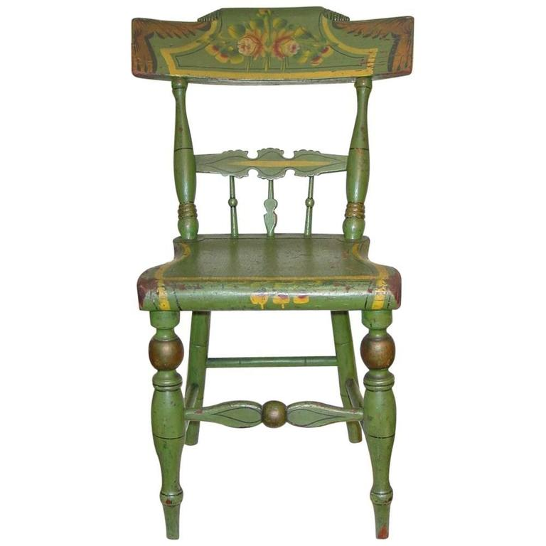 Green-Painted and Stencil-Decorated Child's Chair 1