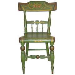 Green-Painted and Stencil-Decorated Child's Chair