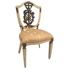 19th Century Italian Shield Back Painted and Parcel-Gilt Side Chair