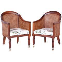 British Colonial Pair of Antique Rosewood Tub Chairs