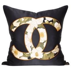 Large Vintage Black Chanel Silk Scarf and Irish Linen Cushion