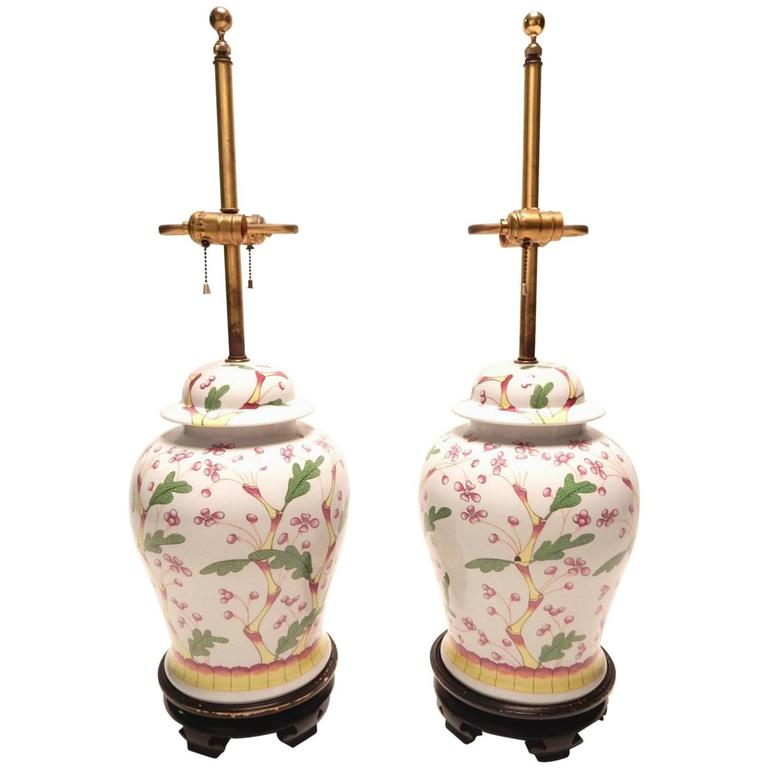 Elegant Norman-Perry Chinoiserie Ginger Jar Lamps