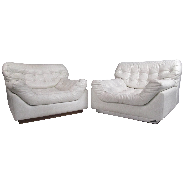 Pair Sculpted Modern Lounge Chairs