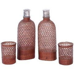 Vintage Set of Drinking Vessels Wrapped in Wicker or Cane