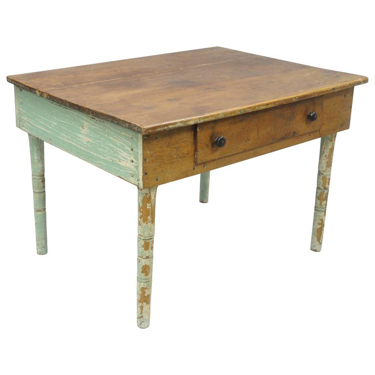 American primitive blue green distress painted rustic wood for Rustic farm tables for sale