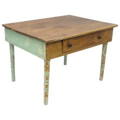 American Primitive Blue Green Distress Painted Rustic Barn Wood Farm Work Table